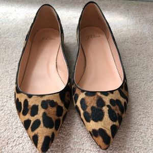 New JCREW Flat pointed toe in leop. and calf hair